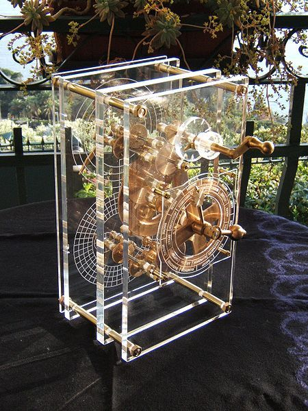 This is a replica of the Antikythera Mechanism -- a Greek astronomical computer from the first century BC. Its precision and complexity of design are beyond astonishing.