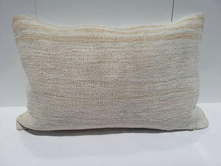 Hemp white Kilim Pillow,Turkish bedroom Pillow,living room Decoration Handwoven Decorative Turkish Kilim Pillow Lumbar,16x24 inches 40x60 cm by Simavrug on Etsy