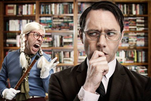 """Psychoville (May 5, 2011, UK, TV series), """"Survivors."""" Reece Shearsmith is Jeremy Goode, a librarian who is obsessed with the return of the overdue book 50 Great Coastal Walks of the British Isles, Vol. 2 by a woman who claims she lost it. When angry or paranoid, he sees a figure he calls the Silent Singer, a jagged-toothed man dressed in braided pigtails who pretends to sing into a cane. http://www.imdb.com/title/tt1742967/"""