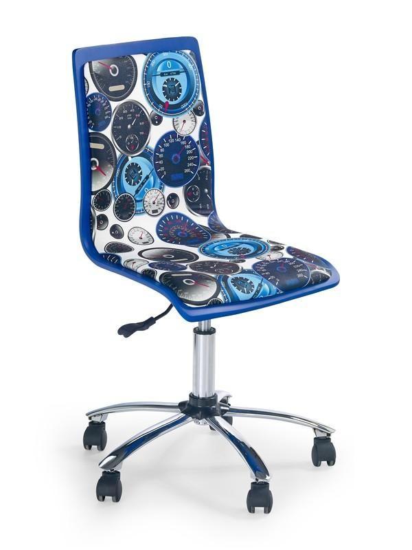 Clocks is een moderne kinderbureaustoel gemaakt van kunststof gecombineerd met een kunstlederen zitting, de poot is gemaakt van verchroomd staal en is aan de onderzijde voorzien van kleine kunststof wieltjes.