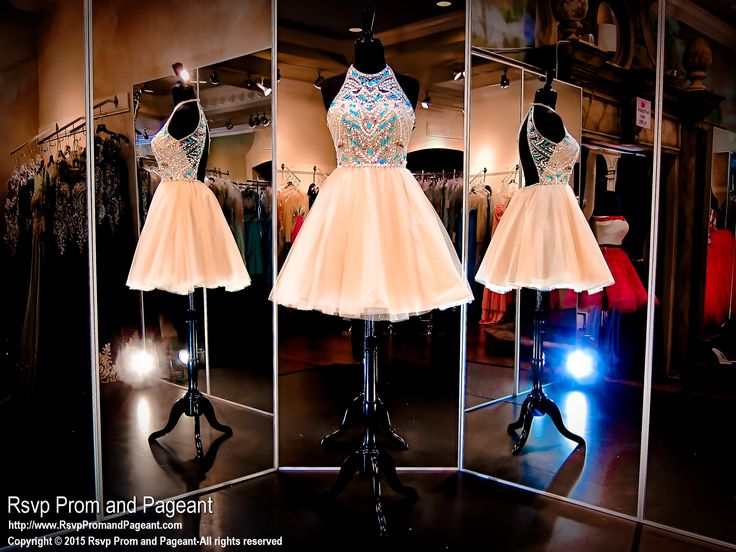 Nude Short Homecoming Dress-Halter Bodice with Aqua Beading-115RA040610 at Rsvp Prom and Pageant, Atlanta Prom Store