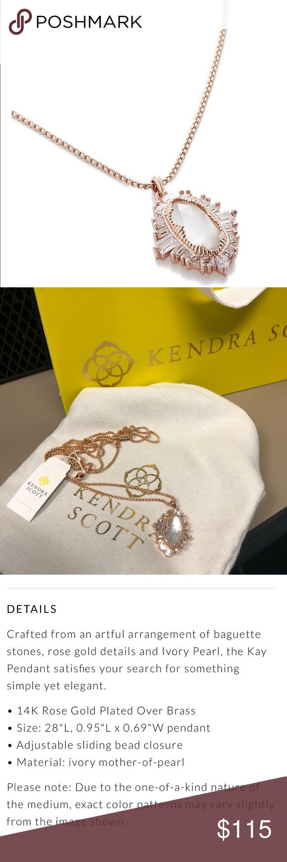 🆕 Kendra Scott Rose Gold Kay Pendant Necklace Beautiful Kendra Scott Kay pendant necklace in rose gold. Please see product details above. It is brand new with the tags and cones in its original dust bag and with the shopping bag. Please ask questions! Kendra Scott Jewelry Necklaces