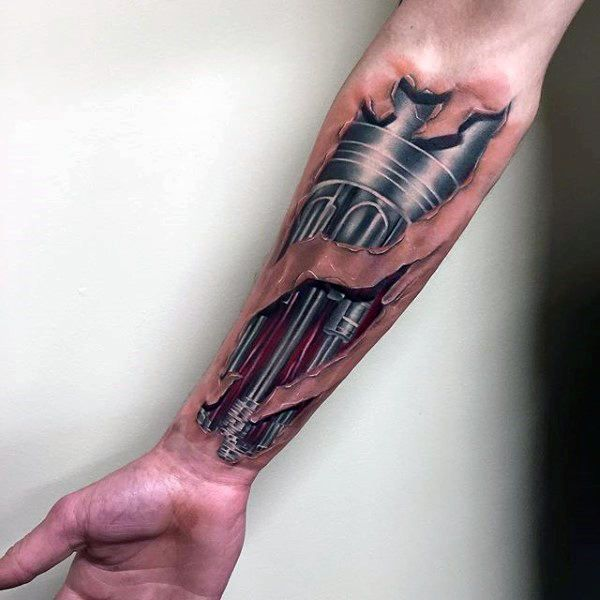 Realistic 3d Guys Terminator Robotic Forearm Tattoo With Torn Skin