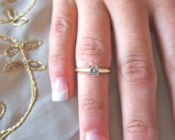 Single round solitare 14k yellow engagement ring by eternaltouch