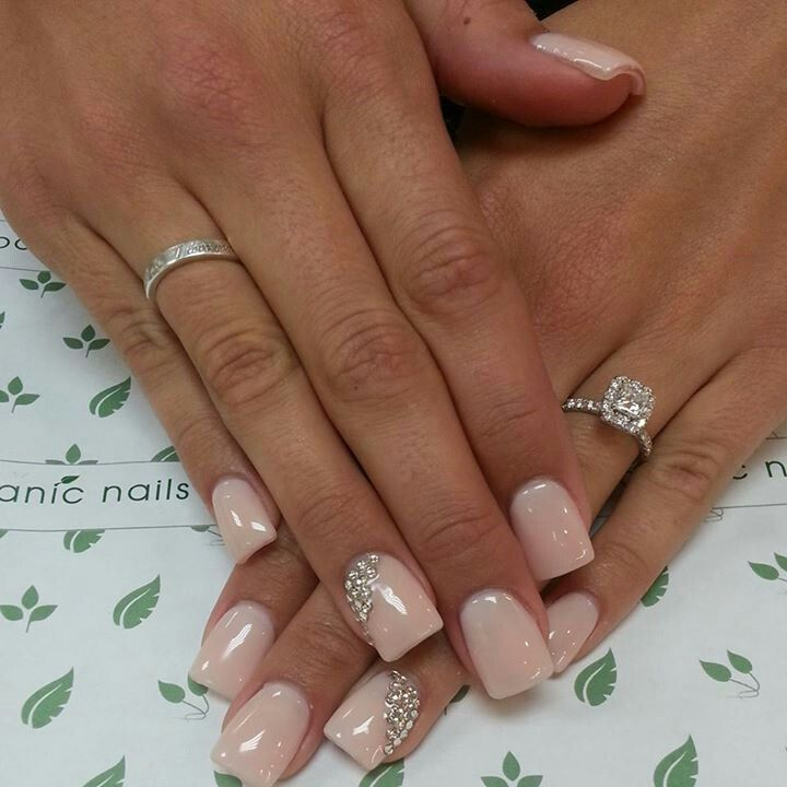 Glossy square tipped blush pink nails with crystal details by Botanic Nails