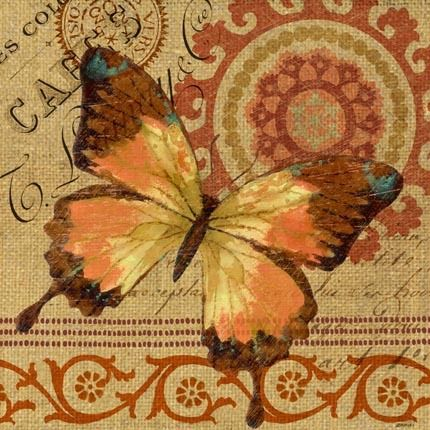 Burlap Butterfly 4 by Jennifer Brinley | Ruth Levison Design