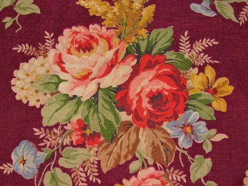 30s Cottage Deepest Burgundy Cabbage Roses Vintage