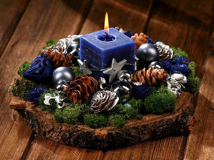 Kompozycja na świerkowym plastrze ok 30 cm- zimowa   pozostałe szyszki, łupiny, kompozycje wianki i podkłady ZIMA - ART. ŚWIĄTECZNE BOŻE NARODZENIE  choinki bożonarodzeniowe ZIMA - ART. ŚWIĄTECZNE BOŻE NARODZENIE  kompozycje stroiki świąteczne choinki - Hurtownia Florystyczna Internetowa - Artykuły Florystyczne - Kwiaty sztuczne