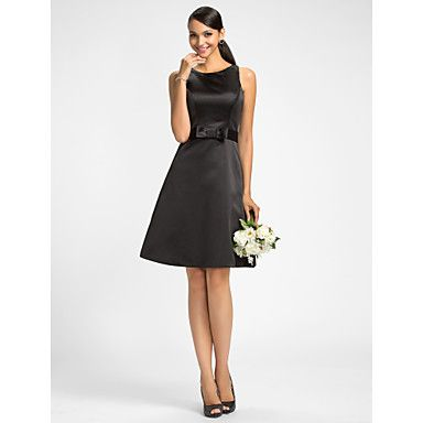 Dress+-+Black+Plus+Sizes+/+Petite+A-line+Jewel+Knee-length+Satin+–+USD+$+64.99