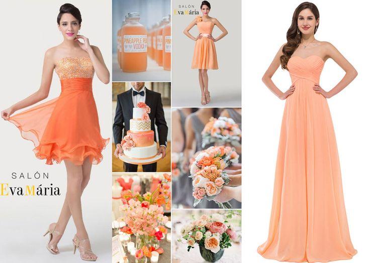Oranžová svadobná výzdoba - oranžové šaty pre družičky