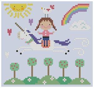 Spring Unicorn Cross Stitch by Theflossbox on Etsy, $3.75