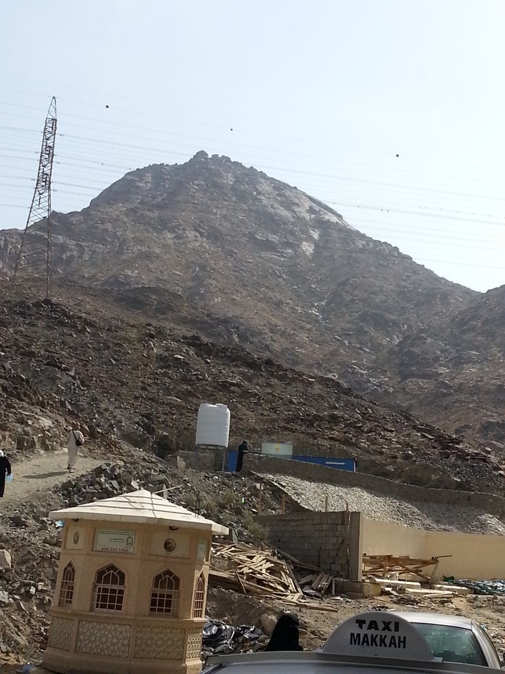 "Jabal (Mount) Thawr where Ghaar (Cave) Thawr is situated, Makkah Mukarramah. Prophet Muhammad (S.A.W) left Makkah along with his companion Abu bakr al-Siddiq (R.A) in the wake of mounting opposition and threats to his life. Before he migrated to Madinah, he took refuge here. The search party of the Makkan Quraysh came upon the mouth of the cave, and had they looked down while standing at the edge of the cave, they would have surely found them. Qur'an 9:40 ""..Have no fear, for Allah is with…"