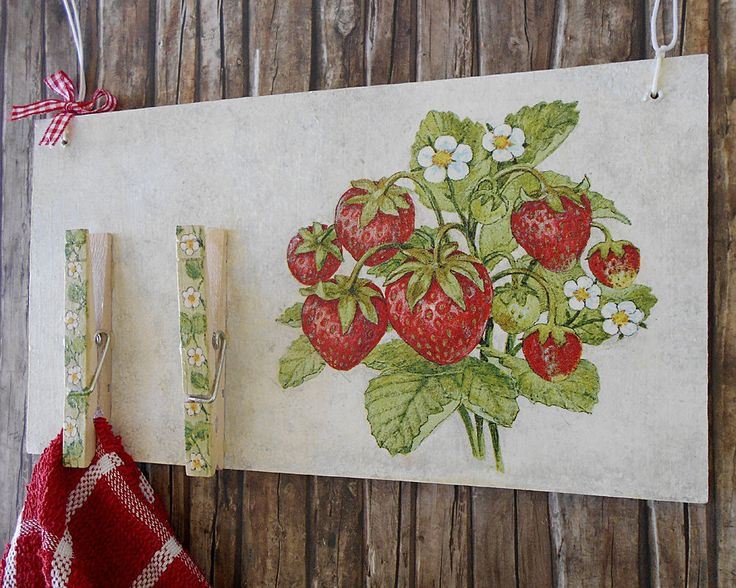 Kitchen Towel Holder - Recipe Holder - Strawberry Kitchen - Bulletin Board - Rustic kitchen Decor - Message Board Organizer - Memo Board by ArtFlyCreations on Etsy