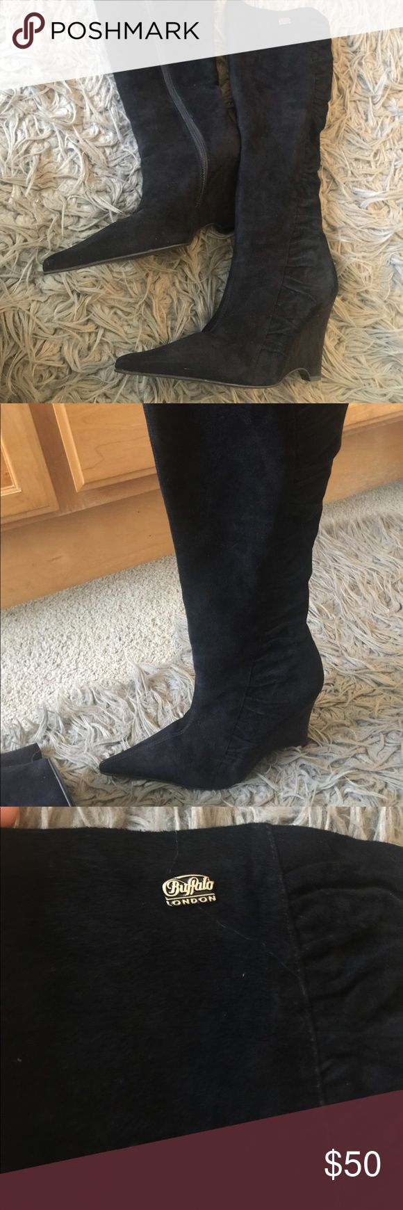 Black suede boots Black suede Buffalo London boots an famous brand from Europe! In excellent condition! Size 38 Buffalo David Bitton Shoes Over the Knee Boots