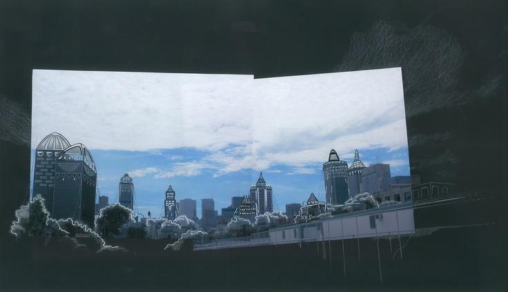 Alexandre Désilets. Collage. Photography+ Illustration: Ariane Charbonneau #album #artwork #music #montreal #skyscrapers #city