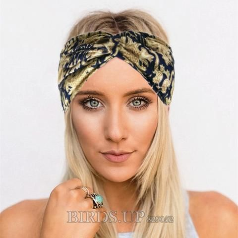 Fashion Wide Patchwork Cotton Headband For Women Lady Plain Fabric Yoga Sport Elastic Hairband Turban Headwrap Hair Accessories Girl's Hair Accessories