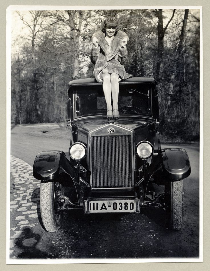 https://flic.kr/p/21XNfaE | NSU 6/30 PS | A fashionable lady in a fur coat posing on the roof of an NSU automobile on a sunny winter's day.  Note the photographer's shadow, visible in the foreground. The car is registered in the city of Stuttgart (III A = Polizeipräsidium Stuttgart).  Country of origin: Germany  Taken ca. 1928.