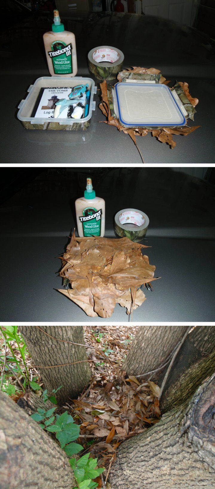 Survival, Camo cache posted to the geocaching forums.