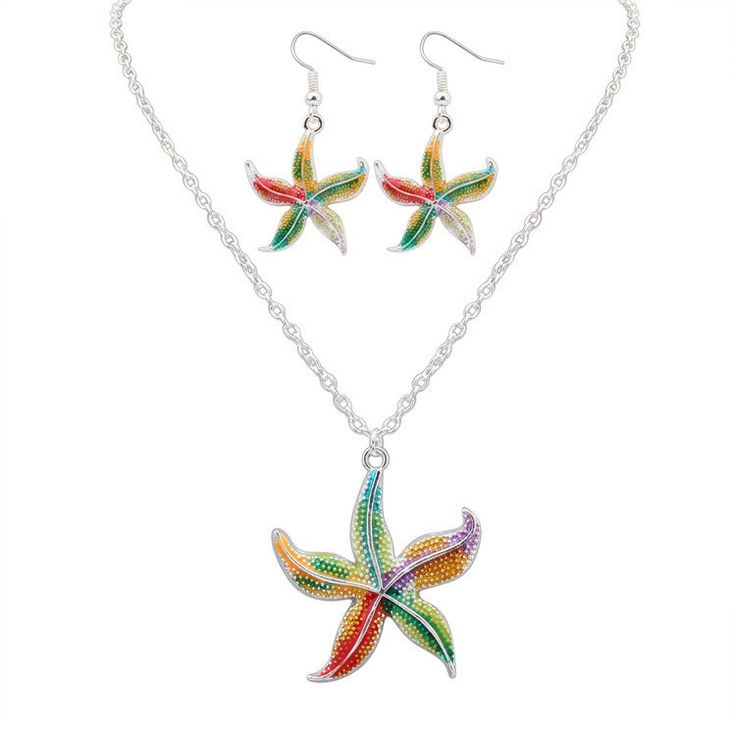 Starfish Pendant Silver Necklace & Drop Earring Colorful Charm Summer Beach Jewelry Set For Women