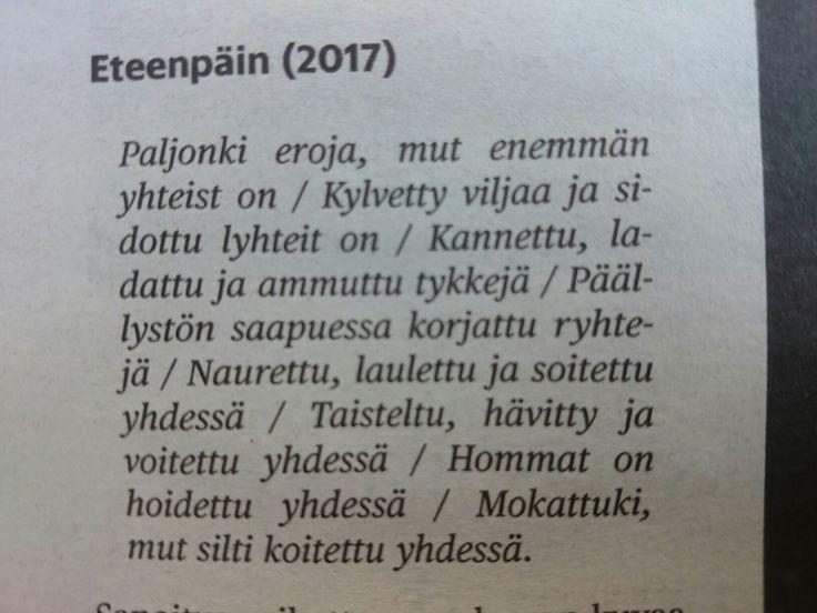 """Paleface: """"Eteenpäin"""" sanoitus 2017 Suomi 100 v"""