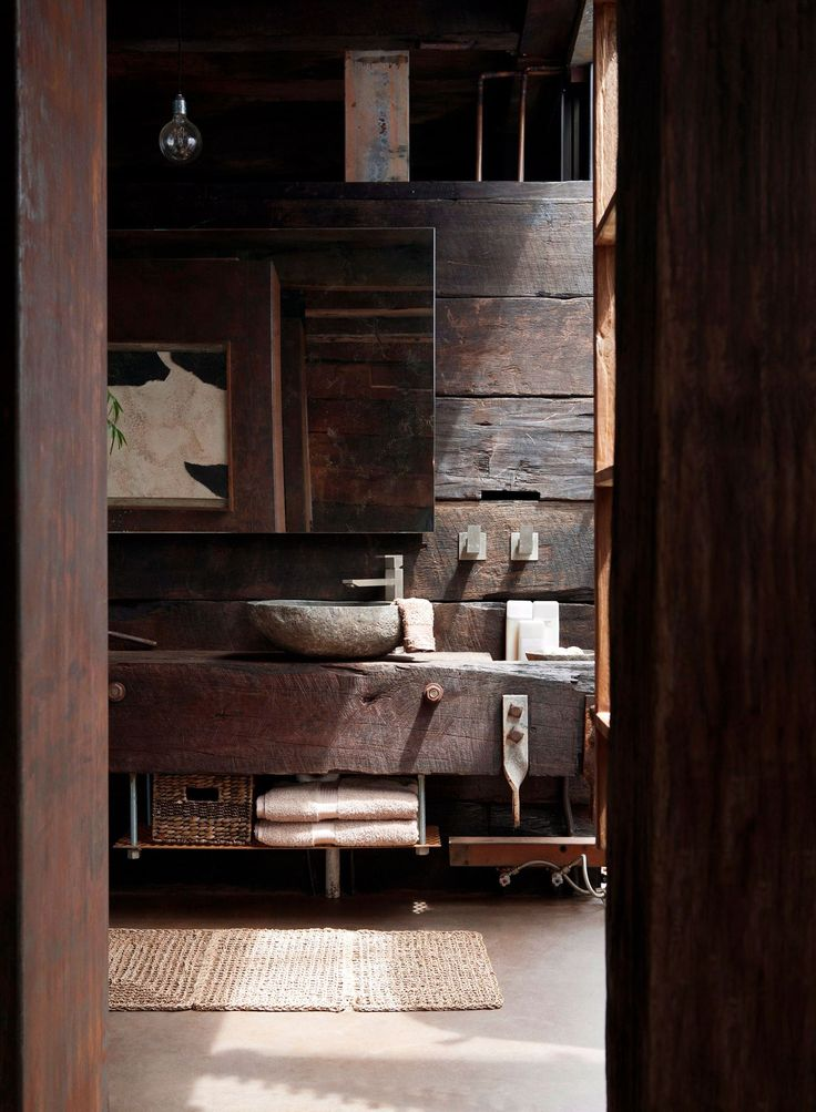 **Recycle and re-use.** This rustic Victorian bathroom has a truly triumphant tale. A victim of the devastating 2009 Black Saturday bushfires, Chris Clarke, salvaged materials from the fires and used them to rebuild a sustainable and striking home. *Photography: Alicia Taylor / bauersyndication.com.au*