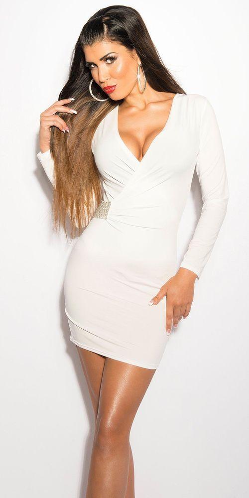a94ad7995a74 Vestito Abito da donna corto maglia tubino aderente Sexy scollo a v con  Strass