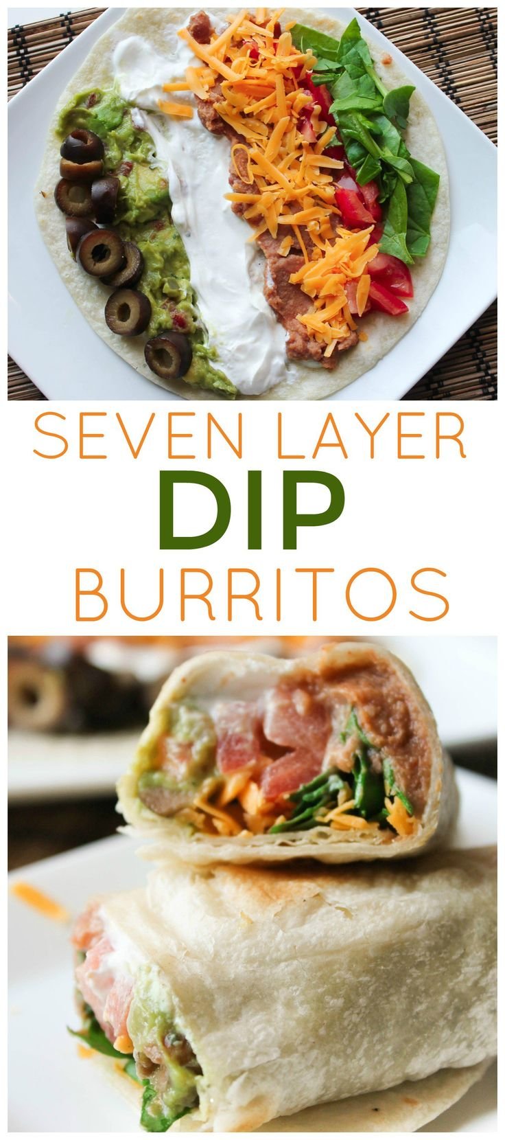 7 Layer Dip Burritos from SixSistersStuff.com | Easy to make, healthy lunch recipes | Kid Approved Main Dishes