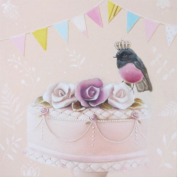 Kitchen décor  Sweet Pink Cake  gift for chef food by inameliart