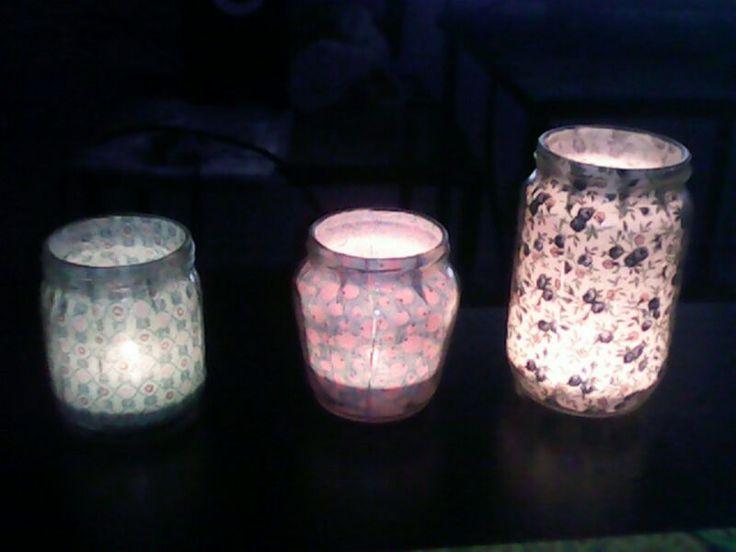 Botes de cristal forrados con tela (de noche)