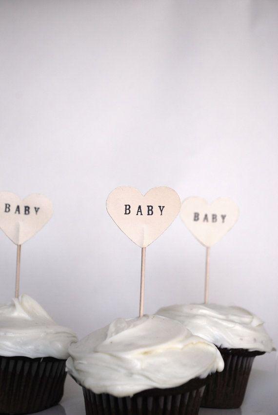 Baby Heart Cupcake Picks 12 hand stamped by thePathLessTraveled