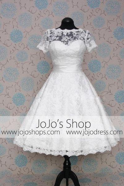 Retro 50s 60s Short Tea Length Modest Short Sleeves Lace Wedding Dress with Sash Tie
