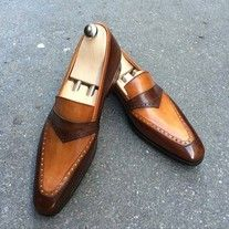 Handmade Men's Loafer Shoes,Men's Plain Brown Tan leather Formal Loafer Shoes from leatherworld2014