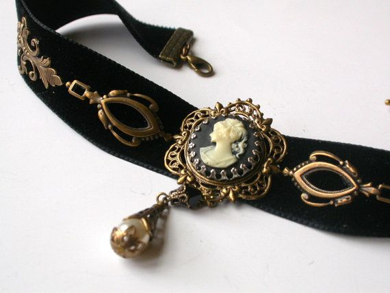Gothic Victorian Velvet Choker  Black Cameo  by LeBoudoirNoir, $70.00