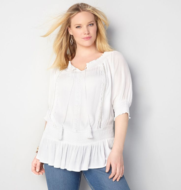 Find pretty peasant tops for spring in plus sizes 14-32 like the Smocked Waist Peasant Top available online at avenue.com. Avenue Store