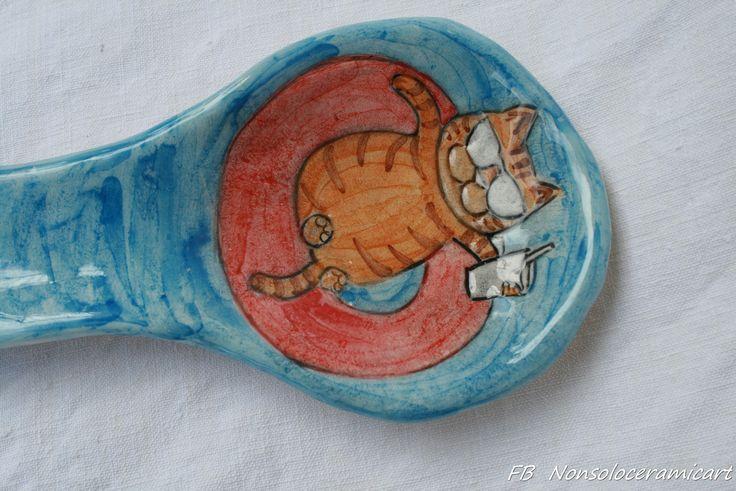 poggiamestolo gatto arancione con occhiali | handmade ceramic | orange cat spoon rest