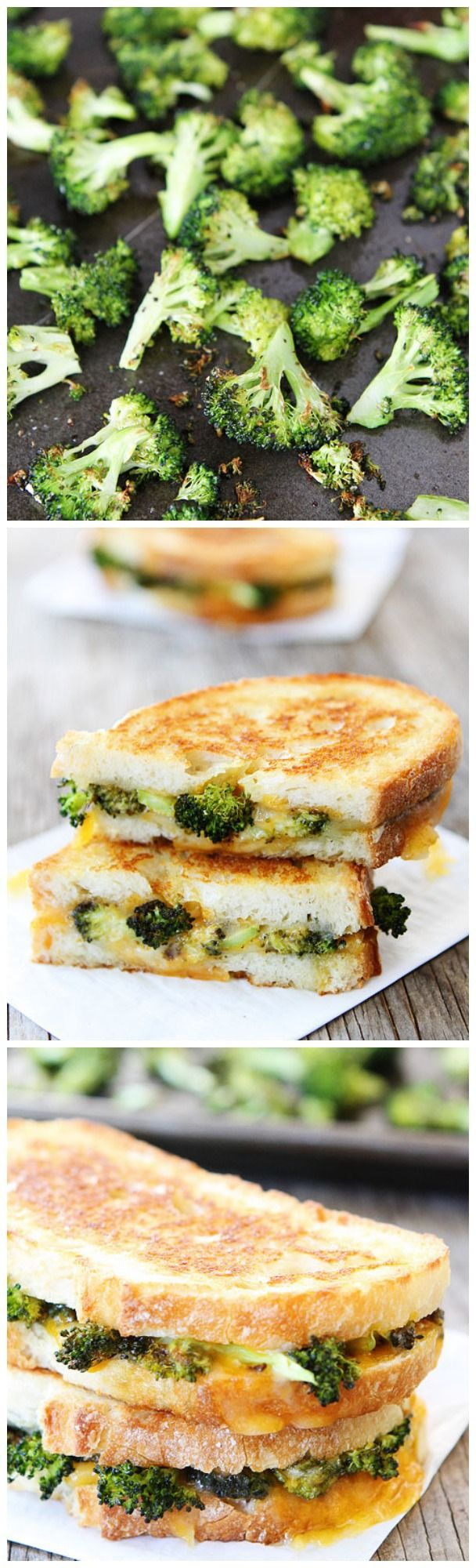 Roasted Broccoli Grilled Cheese Sandwich on twopeasandtheirpod.com Great for lunch or dinner! Use a #vegan cheez