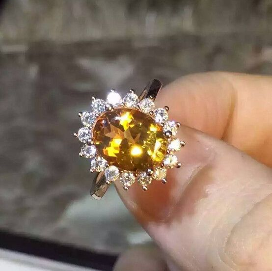Great Citrine stetling silver ring