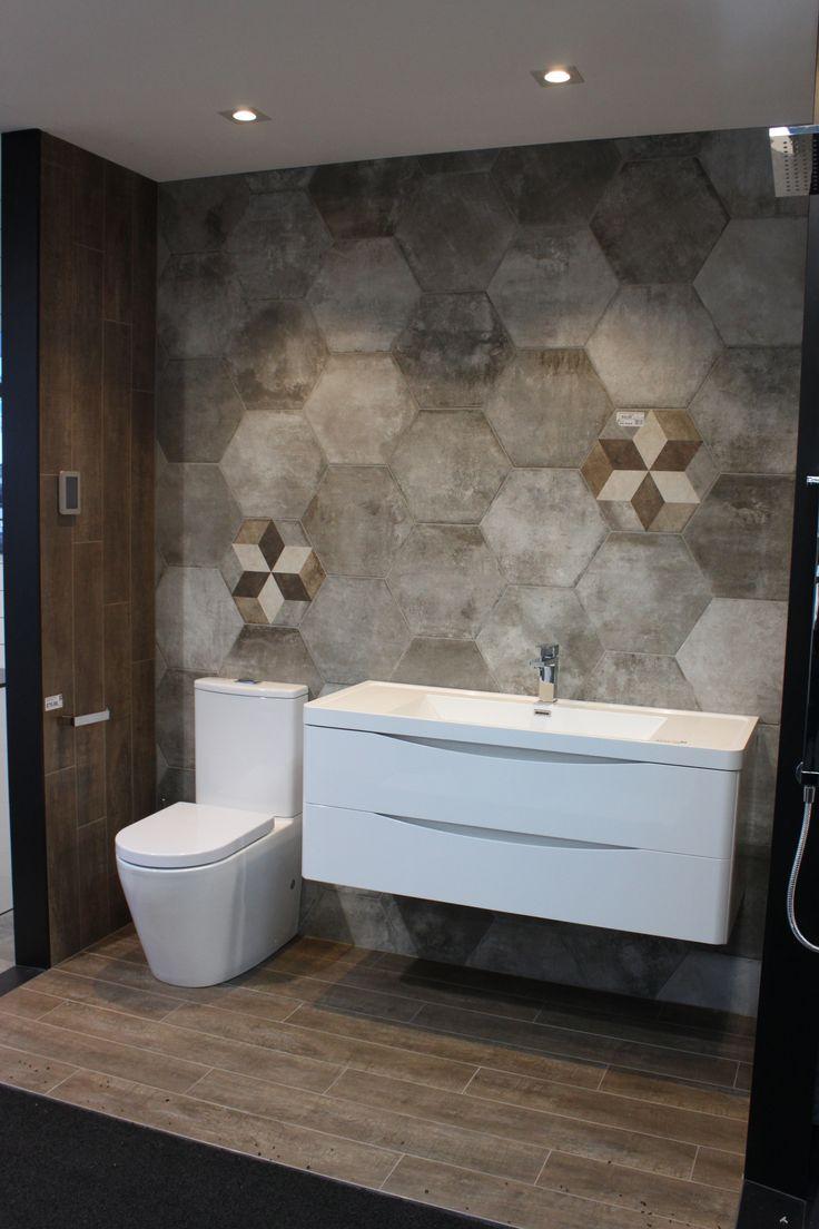 crown brown 150x900mm woodgrain porelain tile with heritage exagona on the walls showroom display