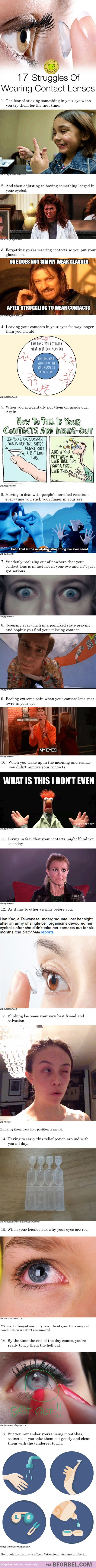 Or when you drop your contact and look around you but its in he other side of the room not even close to where you were