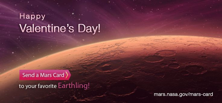 Love is in the Air! Celebrate Valentine's Day the Martian way with out-of-this-world e-cards featuring hearts of the Red Planet. Send your Mars Valentine's postcard today: http://mars.nasa.gov/free-holiday-ecard/love-valentine/