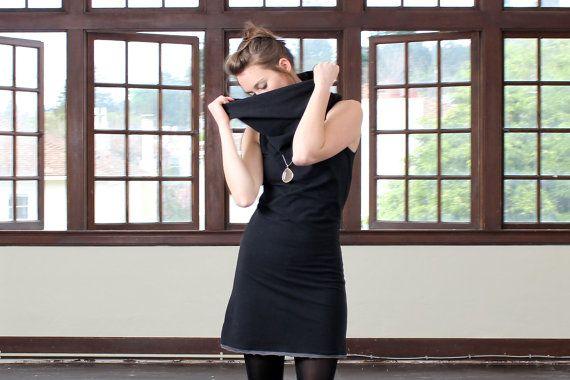 Black cowl dress Black spring dress Sleeveless by MayaEplerFashion