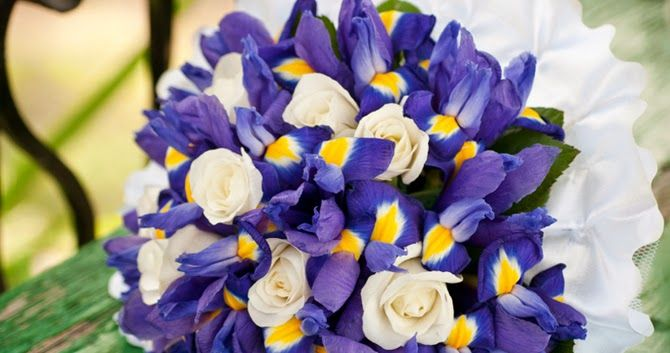 Iris wedding flowers http://weddingflowersideas.blogspot.com/2014/05/iris-wedding-flowers.html
