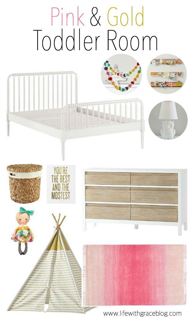 Pink and Gold Toddler room inspiration board. Girly toddler room. www.lifewithgraceblog.com