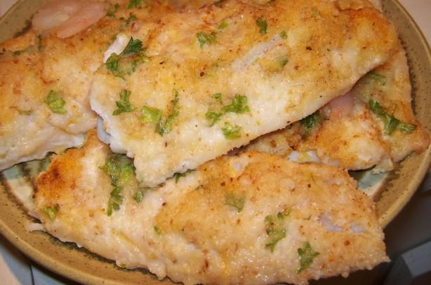 Oven Baked Fish Fillets With Parmesan Cheese from Food.com:   								These are so good and so easy to make, great weekday dinner. This recipe come from Fox Brook Winery. Good served with Chardonnay wine.
