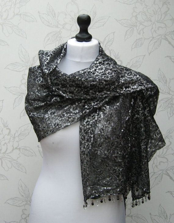 Silver & Black Lace Stole Beaded Lace Wrap by LookingGlassDesigns1
