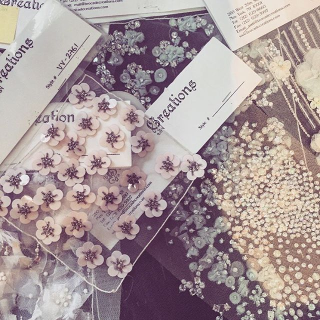 csirianoWorking with these beautiful embroideries in the studio today. #ChristianSiriano #CSiriano
