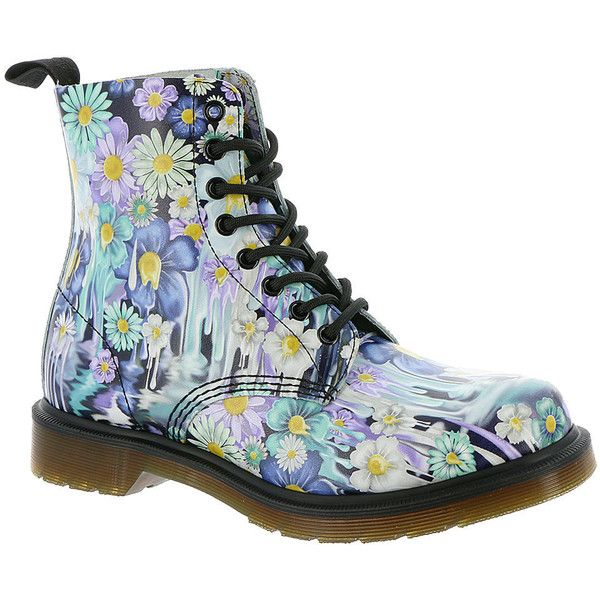 Dr Martens Pascal 8-eye Paint Slick ($150) ❤ liked on Polyvore featuring shoes, purple, purple shoes, dr martens footwear, ski shoes, dr. martens and dr martens shoes