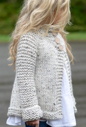 Knitting Pattern for Child's Brink Cardigan - This children's sweater by Velvet Acorn is a quick knit in super bulky yarn. Sizes included 2, 3/4, 5/6, 7/8, 9/10, 11/12, S, M, L