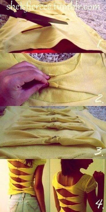 T shirt cutting bow back shirt cut out