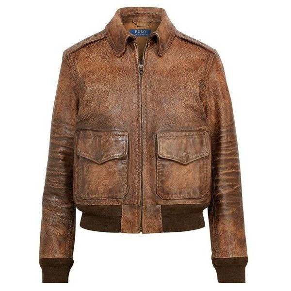 Polo Ralph Lauren Leather Bomber Jacket (13.285.375 IDR) ❤ liked on Polyvore featuring outerwear, jackets, bomber, brown, leather jackets, real leather jackets, flight bomber jacket, brown bomber jacket and polo bomber jacket